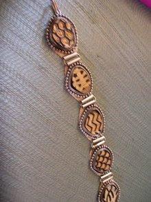 Bone/wood on Silver Decorative Carved Bracelet