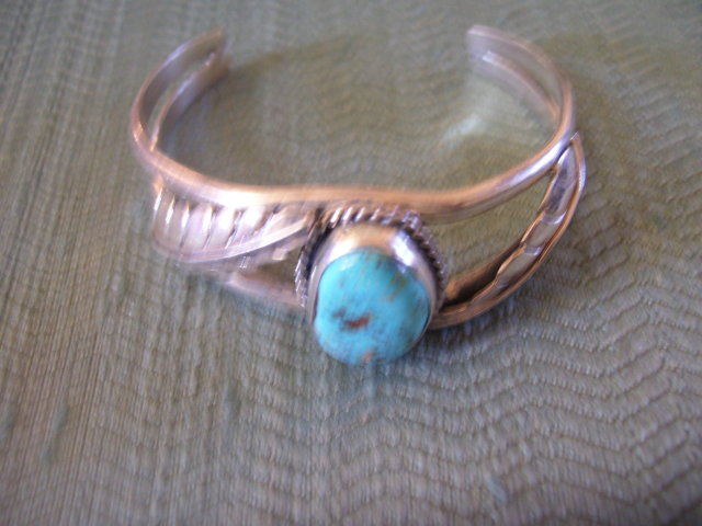 BisbeeTurquoise and Silver Native American Cuff Bracelet