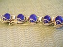 Lapis Lazuli (7) Large Dark Blue Stones Chanel Set Bracelet Set in Silver