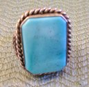 Turquoise Men's Ring Chanel set in Sterling Silver