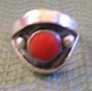 Men's Pink Coral Ring /8.00 Grams Silver