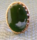 Ladys Green Jade Ring Chanel Set in Sterling Silver