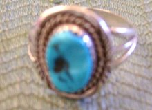 Blue Turquoise Ring Chanel Set in Sterling Silver