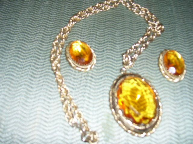 Whiting & Davis- Canary Yellow Sapphire  Cut Glass Necklace & Earrings