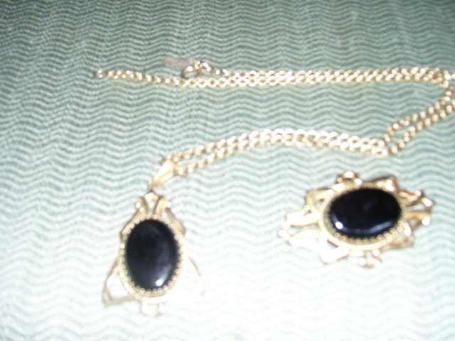 Whiting & Davis- Black Onyx Necklace & Matching Broach