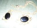 Whiting & Davis- Black Onyx Necklace & Matching Broach