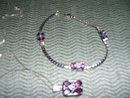 Italian Matching Garnet  Pendant Necklace and Bracelet