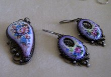 Hand Painted Porcelain Broach and Matching Earrings