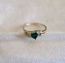 10 K. Gold Cubic Zirconia  Emerald Ring