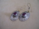 Vintage Ruby Earrings/ Set in  Sterling Silver