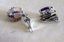 Vintage Amethyst Earrings/ Set in  Sterling Silver