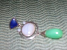 Large Jade and Sterling Silver  Pendant