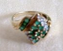 Natural Emeralds and Diamond Ring-10k Gold