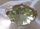 A Ladys-8.50cts Green Quartz/.18ct diamond/ 7.30 grams 14K White gold