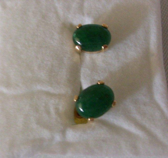 2.00 cts Dark green Natural.Emerald  Earrrings /. 1.00 grams 14K yellow gold