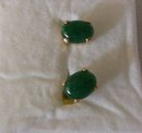2.00 cts Dark green Natural.Emerald  Earrrings /. 1.00 grams 14K yellow gold