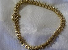 Ladys Champayne Diamond and 8.2 grams Yellow Gold Bracelet