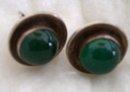 Ladys Vintage  Emerald green Jade  / Silver earrings
