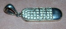 Ladys Vintage Large Silver Pendant with stone
