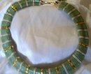 A Trifari Green, Gold and Grey Pearlized Choker Necklace