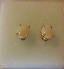 A  Pair of Opal Earrings 14K yellow-gold, 1.0 grams