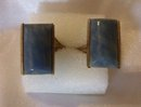 Chalcedony Vintage Antique Blue- Grey Cufflinks set in Silver-12.4 grms.