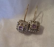A pair Amethyst Dangle Earrings set in FAS 925 Sterling Silver 5.2 grams