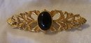 Signed Mirian Haskell Black Onyx Gold on Silver Brooch- 7.4 grams