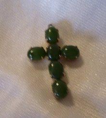 A ladys Sorrento Jade (6) Stone Cross Pendant