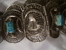A lady's Egyptian ancient Pharohs Silver mesh and carved Gemstone Belt,  217.0 grams