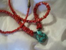 Ladies Bisbee  Blue  Turquoise Necklace with red turquoise beads, 20.0 grams