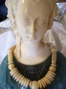 A lady's Genuine Antique Carved  Ivory disk and bead Necklace, 54.4 grams