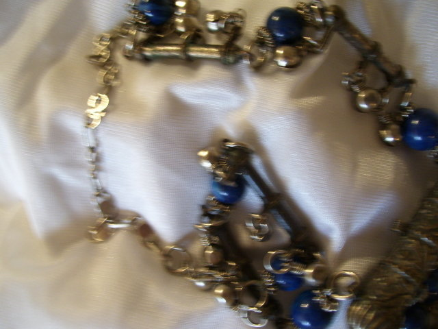 Ancient  Egyptian Style Necklace-Blue Lapis colored Stones