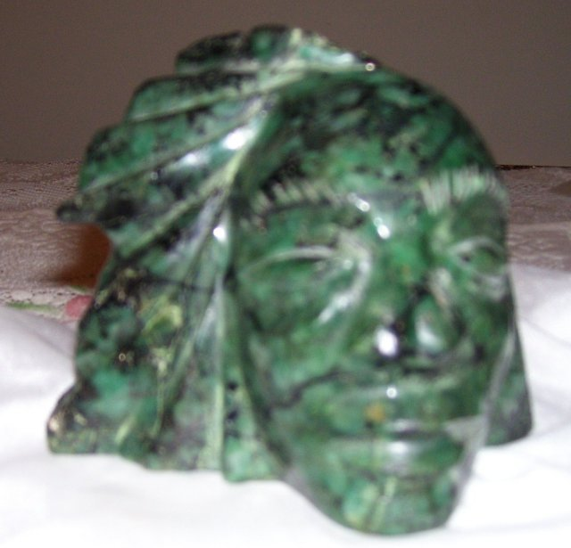 Indian Head Carved in  3.25 Pound Natural Emerald