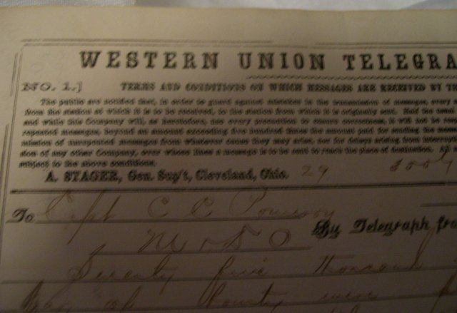 Civil War Western Union Telegraph From Washington to Captain CC Pomeroy ( 75,000.00 Bounty)