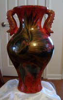 Chinese large handcrafted clay pottery red Dragon floor vase