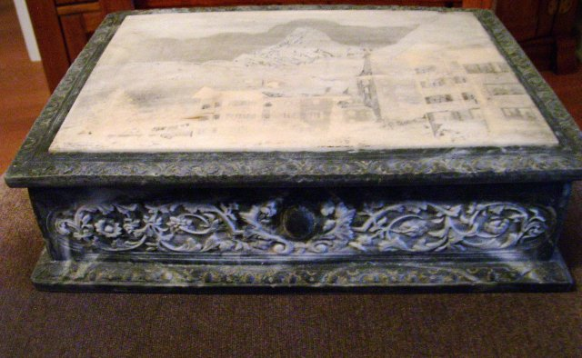 Vintage Italian  Marble hand carved and engraved marble storage box