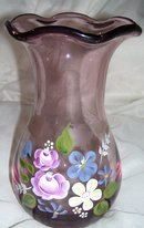 A pink Floral Blown Art Glass Vase Designed by Fenton