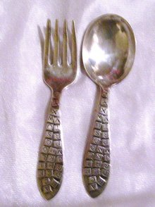 Rogers Sterling Silver '' ABC'' Baby Fork & Spoon
