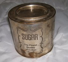 Vintage Cuban Silverplate Sugar  closed lid cannister