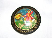 Vintage Russian Artist signed Handcrafted-Handpainted Broach