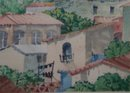 Adobe Village Scene- Frank G. Applegate- New Mexico 1882-1934- 14 x20 inch watercolor on paper