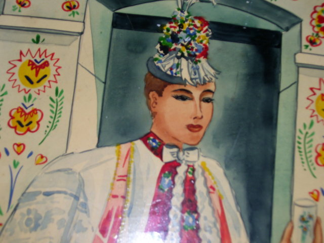 A  signed '' Mikulik '' Painted art  wood wall painting