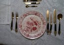 A Vintage Antique set of 10 Smith Taylor Red Roses floral plates.