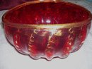 '' Alberto Dona''  ( Venice Italy 1944-)  Murano art glass Oval ( 9'' X 5 '' ) Ribbed/ Bubble Bowl