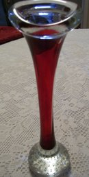 Murano style blown art glass 10''  red bud / clear vase