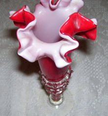 Red Art glass bud vase with incased white layer