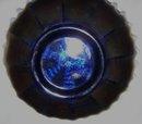 Vintage Fenton '' Ribbon Tie'' Metallic Blue Candy Edge 8.00 in. Art Glass Bowl