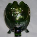Vintage Nortwood '' Fine Cut and Roses''  Green- Footed Rose Bowl