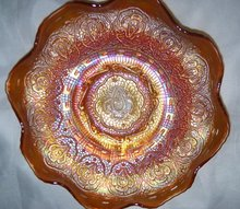 Vintage Fenton, ''Persion Medallion''  Pumpkin Colored (8) Rullfe  Bowl
